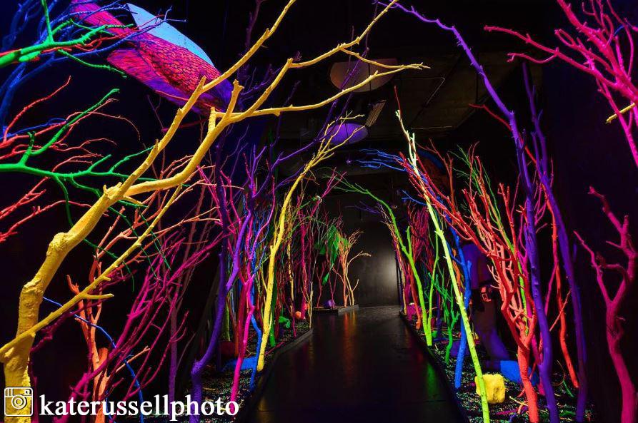 neon underwater scene