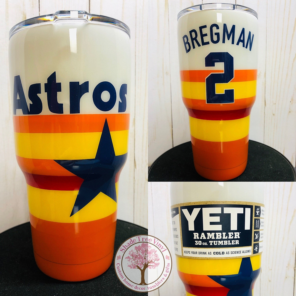 Astros Yeti cup, white, orange, yellow, red with blue star and customizable name/number