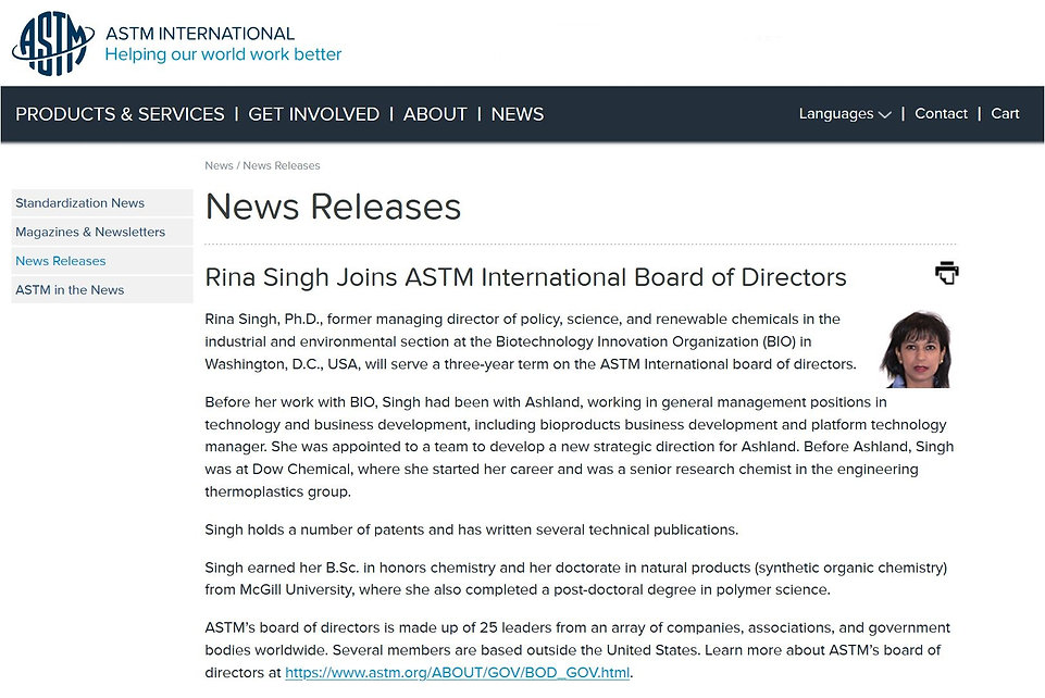 ASTM Announcement - Rina Singh joins boa