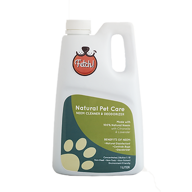 Fetch! Neem Natural House Cleaner, Deodorizer, and Disinfectant. Made out of 100% Neem Extract. Can be used to clean floors, counter tops, kennels, and other surfaces. Non-toxic, making it safe to use when pet or baby is around. Natually repels ticks, fleas, and mosquitoes from the home. Citronella was also added to aid boosting its bug repelling properties.