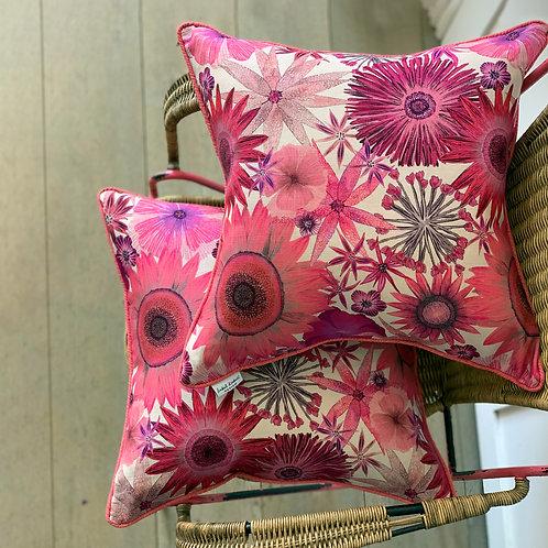 Sunflower Garden Cushion Cover in Rhubarb