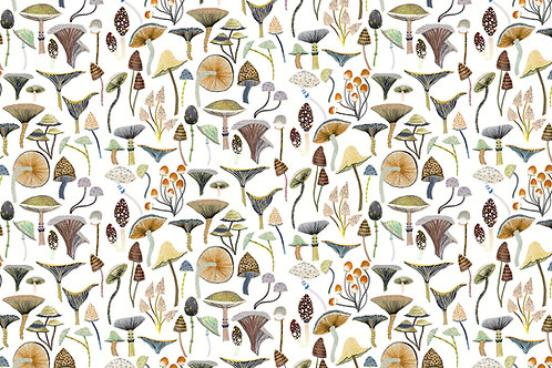 'Golden Mushrooms' fabric by the meter