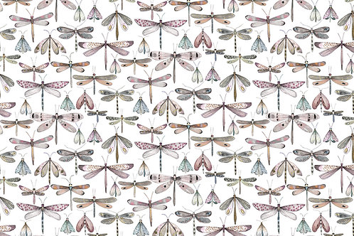 'Rose Petal Dragonflies' fabric by the meter
