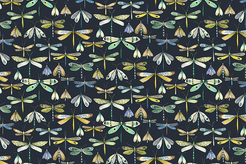 'Charcoal Dragonflies' fabric by the meter
