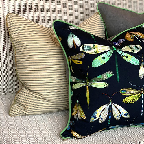 Charcoal Dragonflies Cushion Cover