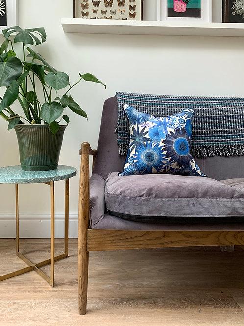 Sunflower Garden Cushion Cover in Cobalt