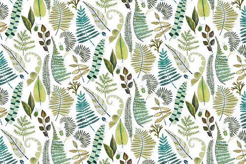 'Viridian Ferns' fabric by the meter