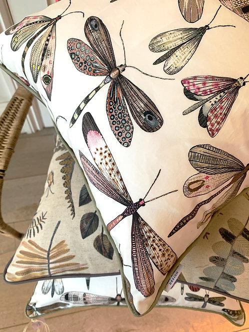 Rose Petal Dragonflies Cushion Cover