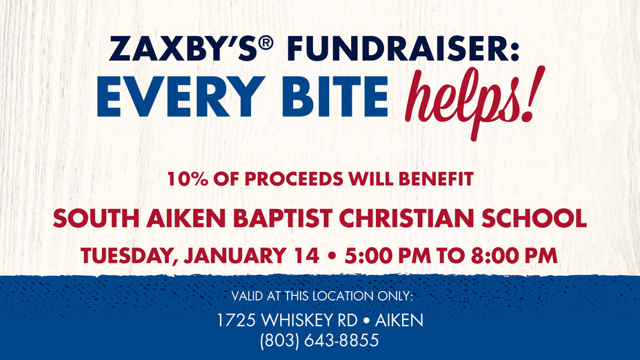 Dine at Zaxby's Tuesday, January 14th from 5-8 PM