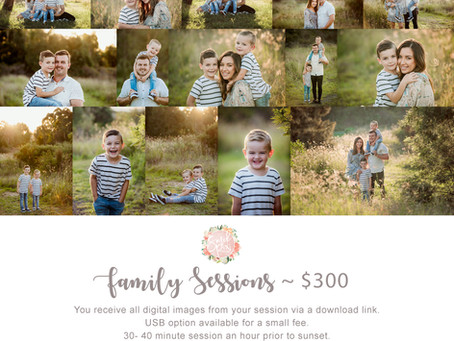 Family sessions running all the way through to the end of March 2020