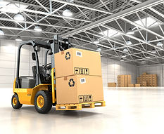 Forklift truck in warehouse or storage l