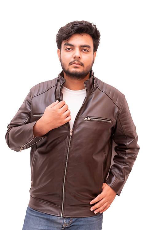 Dark Bear Color Leather Jacket with Fur