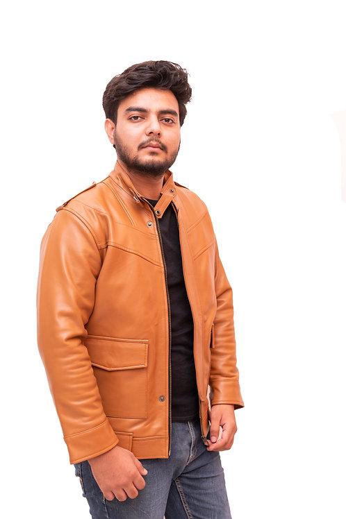 Hawkalook | branded fur Leather Jacket for men stylish for Men (Camel Brown)
