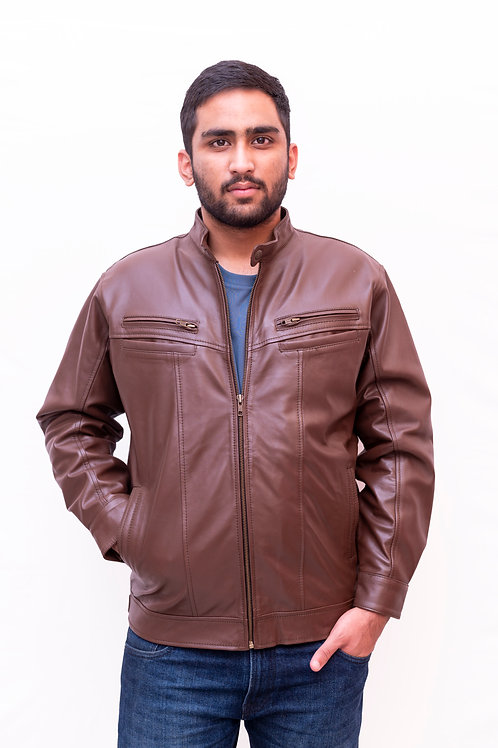 Dark Brown-Forest Leather Jacket with Fur | Genuine Lambskin Leather Jacket