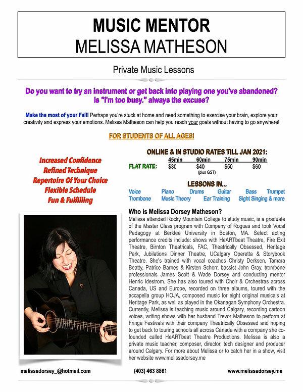 Melissa Matheson Private Lesson Ad - Fal