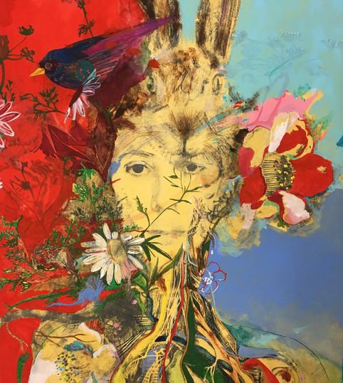 """""""Tête au lapin"""", auto-portrait"""