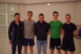 De gauche à droite : Corentin Cherla, Mickael Guillard, Romain Hardy, Franck Bonnamour, Romain Le Roux