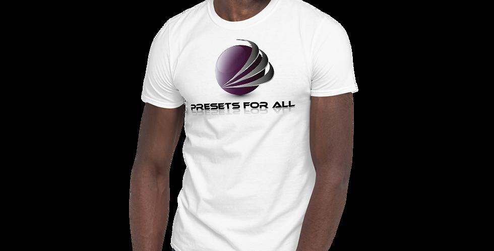 White Short-Sleeve Unisex T-Shirt - Presets For All Logo