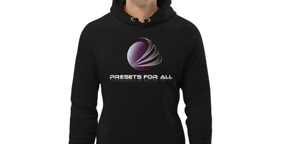 Black Unisex pullover hoodie - Presets For All Logo