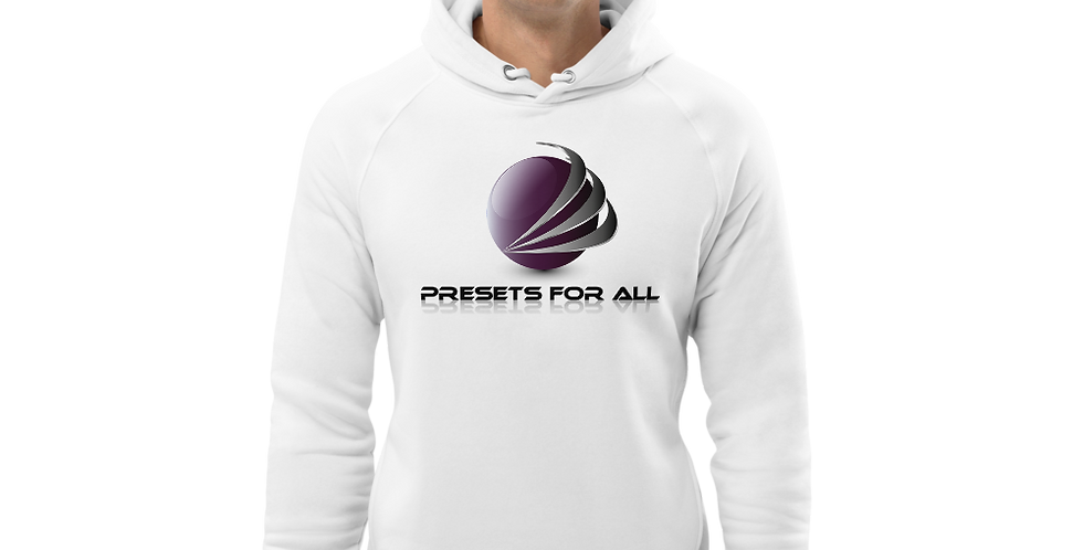 White Unisex pullover hoodie - Presets For All Logo