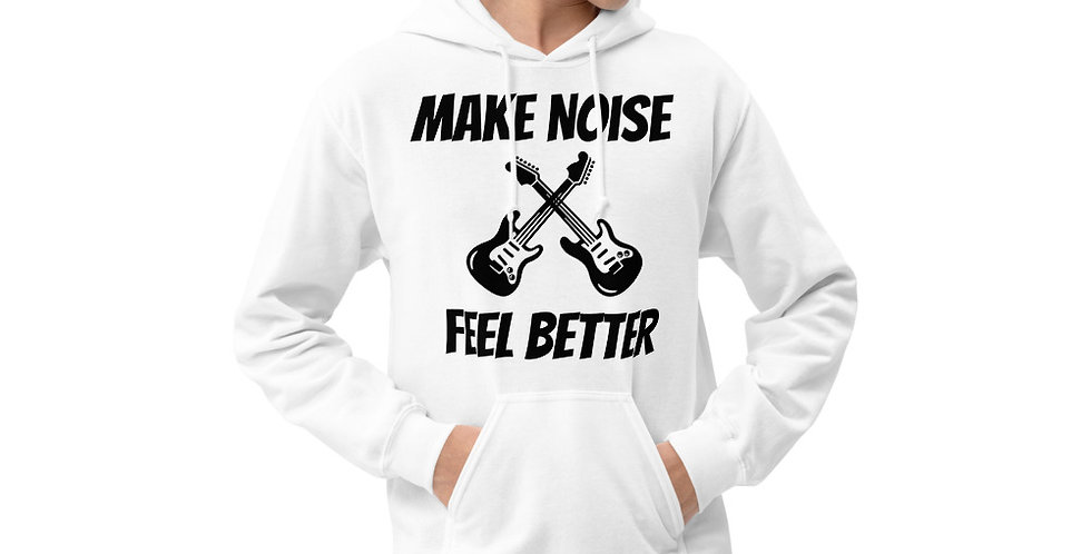 White Unisex Hoodie - Make Noise Feel Better