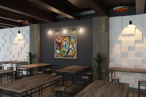 Sixties dans votre restaurant avec simulation de cadre marron - 100 x 100 cm