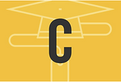 The C Level qualification logo. There is a mortarboard cap and a C.