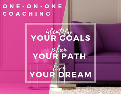 """In the foreground the text """"One-on-one coaching, identify your goals, plan your path, and live your dream"""" is displayed."""