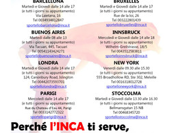 """SPORTELLO """"NUOVA EMIGRAZIONE"""" INCA e ITACA"""