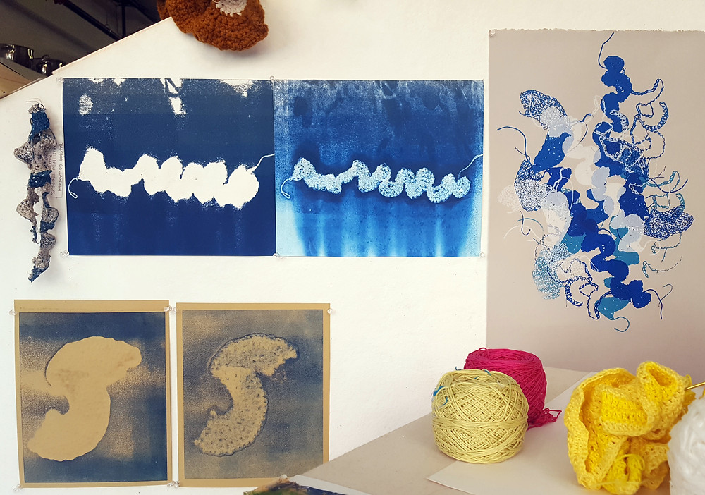 Diedre's collagraph's (left) and screen print (right).