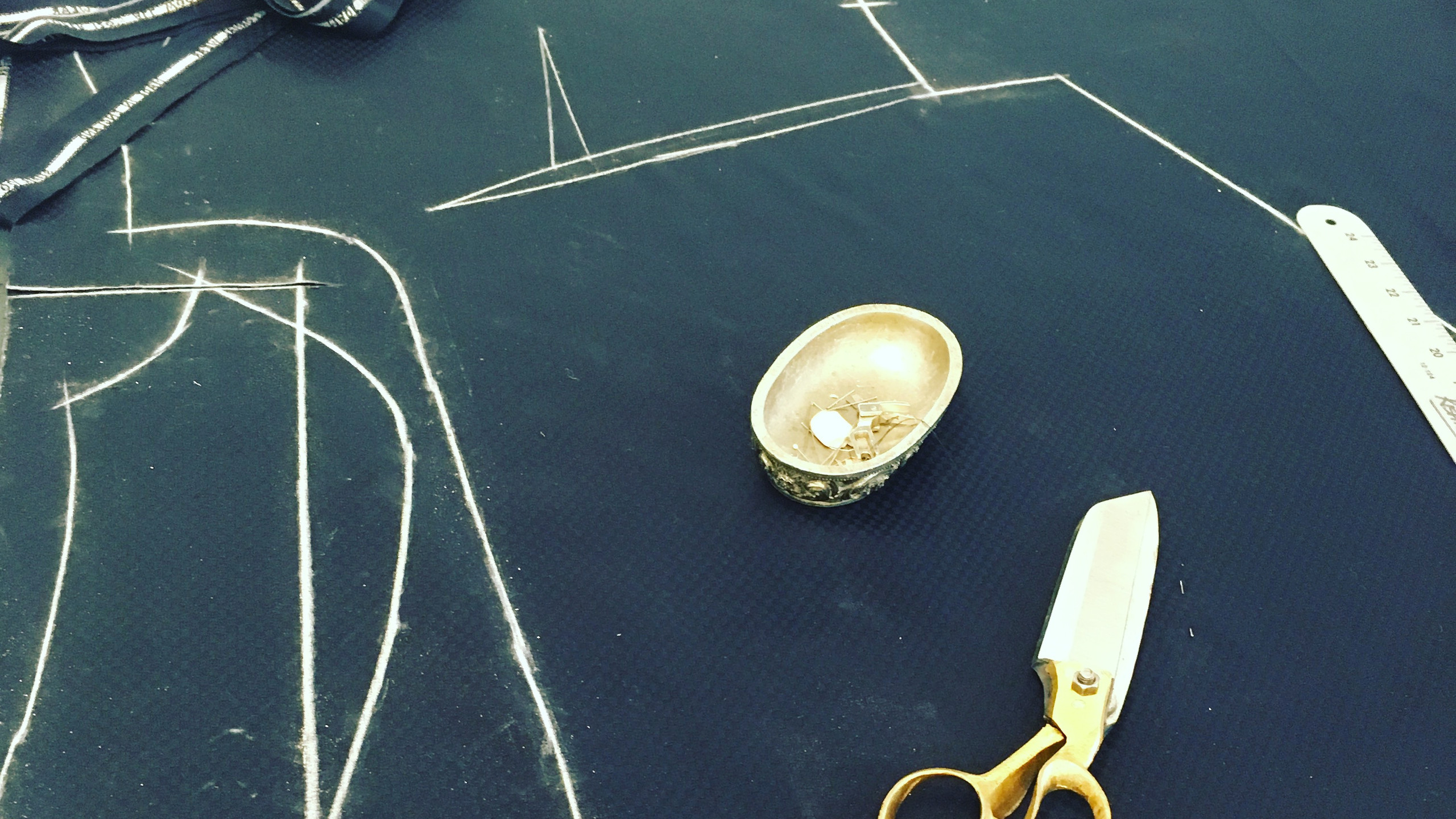 Pattern cutting for initial toile.