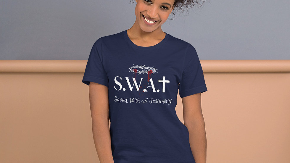 Saved With A Testimony (S.W.A.T.) - Navy/Whiite