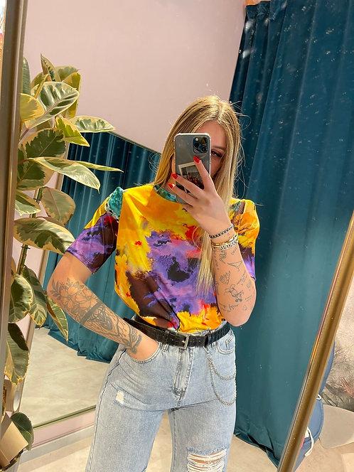 T-shirt con spallotte tie Dye