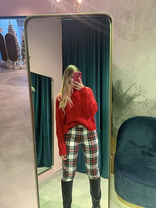 Pantaloni in check con staffa
