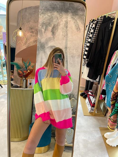 Maglia ad abito a righe multicolor