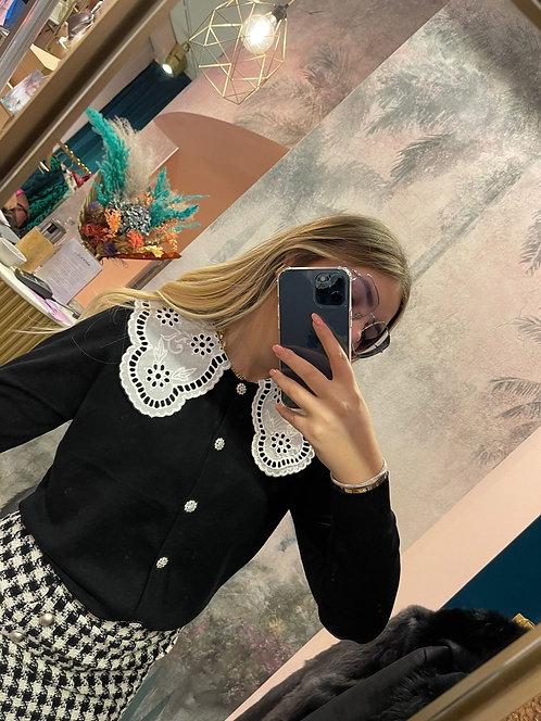 Cardigan colletto ricamato bottoni gioiello