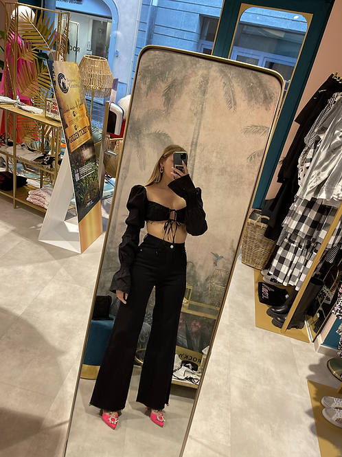 Jeans nero gamba ampia