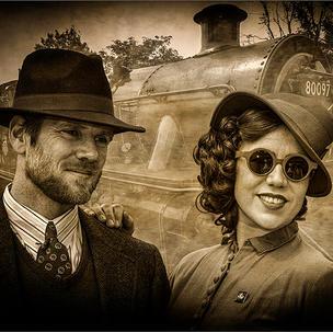 1940s Couple on Station Platform