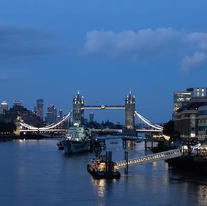 Tower Bridge from London Bridge at Night.