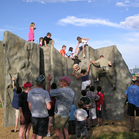One of 5 Climbing Boulders we Installed in City Parks Through Community Collabortion.