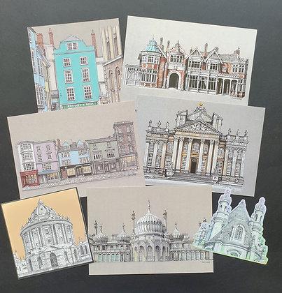 5 Postcards & 2 vinyl Stickers Bundle - 5 different postcard designs and 2 diffe