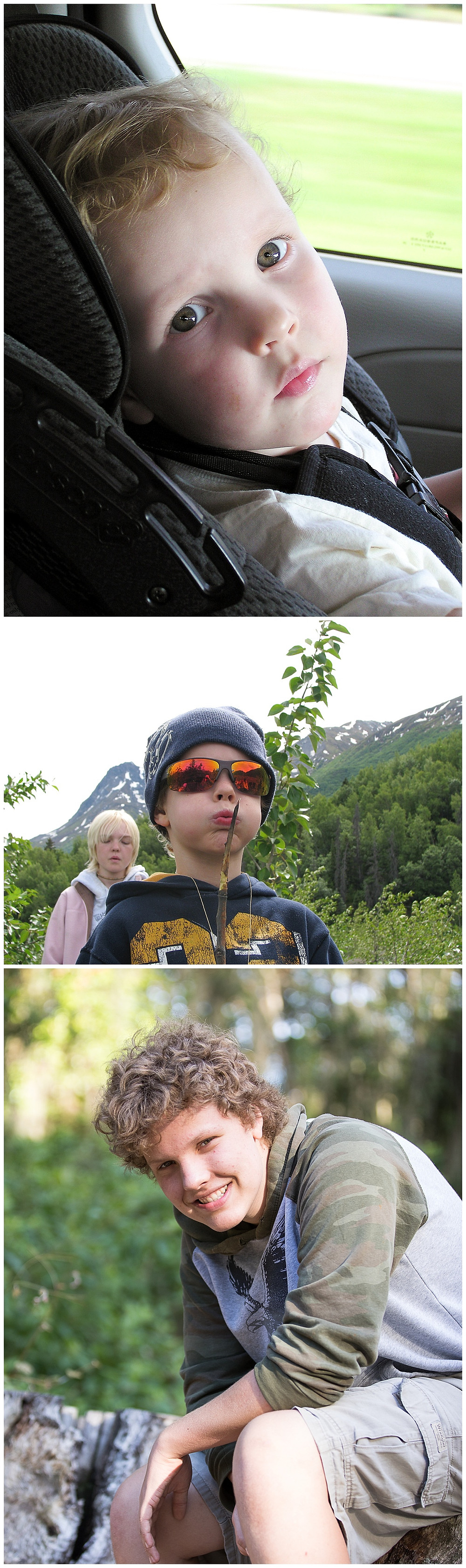 My son in all his babyfaced glory, son in Alaska at 7 years old, and son today.