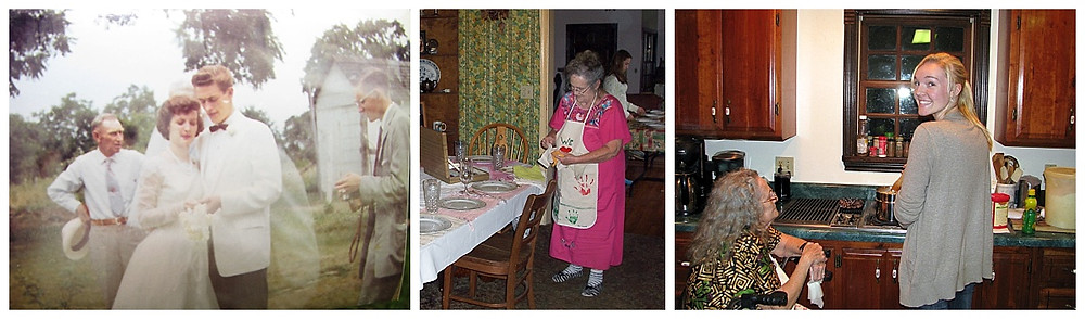 My mom on her wedding day, Thanksgiving, and teaching daughter how to make a pie from scratch
