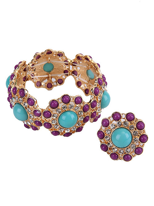 PURPLE AND TEAL BRACELET AND RING SET