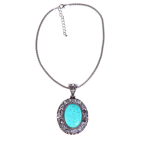 BLUE OVAL STONE PENDANT NECKLACE