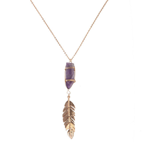 AMETHYST STONE LONG NECKLACE