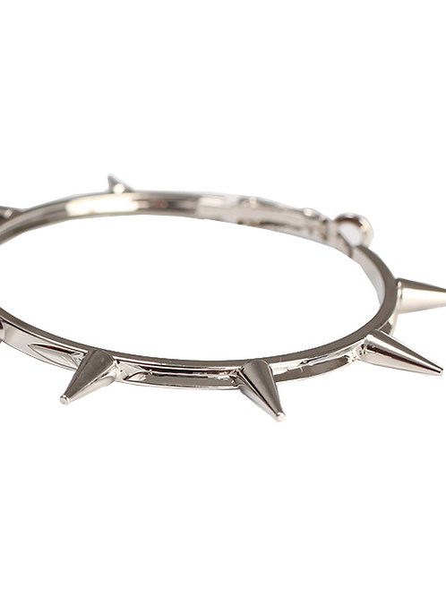 SILVER HOOPS WITH SPIKES