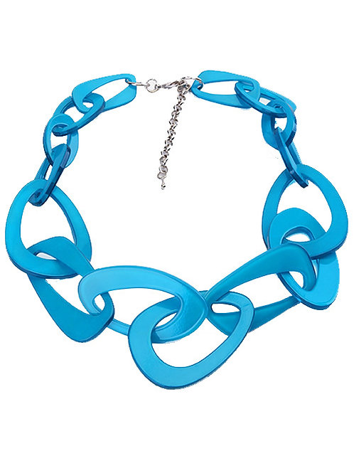 NEON BLUE CHAIN LINK NECKLACE
