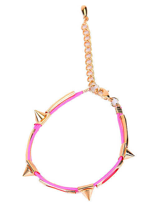 STACKABLE SPIKED BRACELET IN PINK