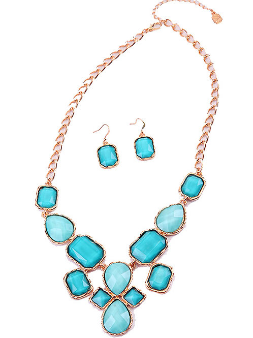 FACETED OCEAN BLUE STONE NECKLACE